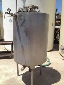 175 Gallon Stainless Steel Jacketed Cone Bottom Mixing Tank
