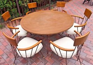 Vtg 1960s Mcm Paul Mccobb Richard Mccarthy 6 Chairs Round Table Dining Room Set