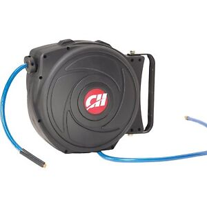 Air Hose Reel With Retractable 50 Foot Hose 3 8 Inch Id Mountable 300 Psi