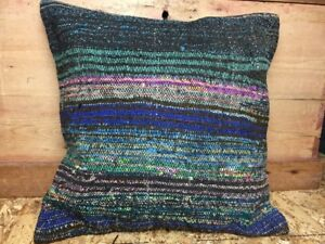 Kilim Rug Carpet Pillow Jewel Tones 19 X 19 Wool Vintage Cover Only