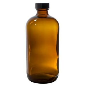 16 Oz Amber Glass Boston Round Bottle With Black Phenolic Cone Lined Cap Label