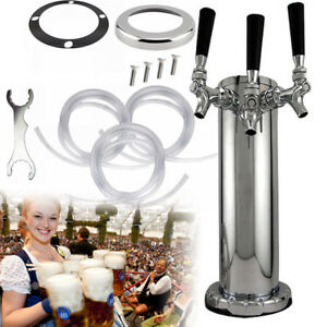 Chrome Triple Tap 3 faucet Draft Beer Tower Stainless Steel Bar Home Party Usa