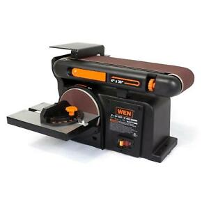 Disc Sander Bench Grinder Top Belt Woodworking Metalworking Tilt Cast Iron Base