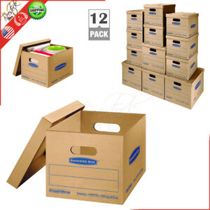 Medium Cardboard Boxes 12 Pack Double Bottom Storage Shipping Moving Boxes Kit