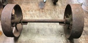 Antique Vtg Industrial Cart Coffee Table Cast Iron Wheels Casters