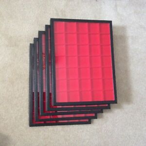 Box of 5 12 X 16 Display Cases riker Type With Red Dividers 35 Squares