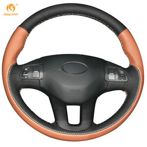 Black Orange Leather Steering Wheel Cover For Kia Sportage 3 2011 2015 qy59