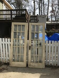 Vintage Wood Double Glass Pain French Doors 1 3 8 X 60 X 84 3 Panes Broken