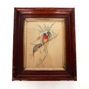 Antique Framed Bird Trio Litho 12x14 Ornate Carved Wood Gold Eastlake Victorian