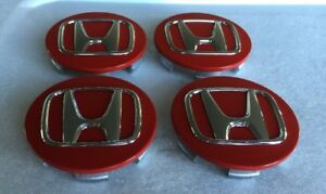 New Set Of 4 Center Caps For A Honda Red Emblem Logo Chrome Oem Made In Japan
