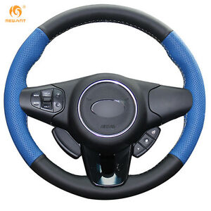 Black Blue Genuine Leather Steering Wheel Cover For Kia Carens 2012 2013 qy49