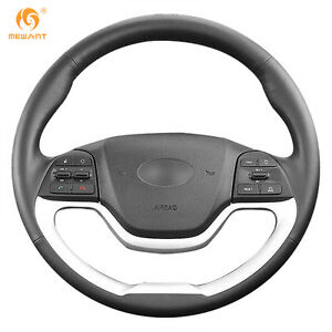 Leather Steering Wheel Cover For Kia Morning 2011 2016 Picanto 2012 2015 qy41