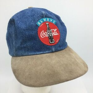 Vtg Denim Coca-Cola Patch Front Snapback Hat Official Coke Product Made in USA