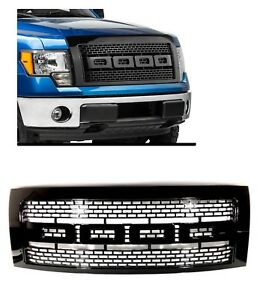 2009 2014 Ford F150 Pickup Raptor Style Black Front Hood Grill Grille W Shell