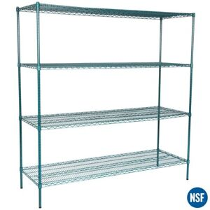 Regency Heavy Duty Commercial Green Epoxy Wire Storage Shelf Rack Kit 74 Posts