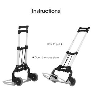 Hand Truck 2 Wheels Folding Dolly Trolley Cart Aluminum Portable Moving Shopping