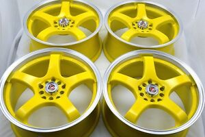 17 Yellow Wheels Rims Jetta Beetle Gti Forte Soul Sportage Eclipse 5x100 5x114 3