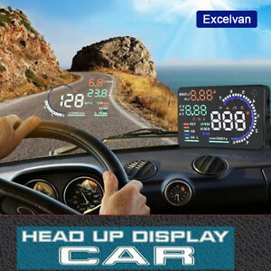 Auto Hud Projector Head Up Display Car Speed Warning Fuel Obd Ii Speedometer Lcd