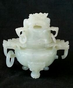 Antique Jade Dragon Head Incense Burner