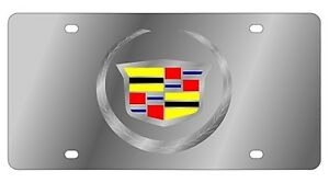 New Cadillac Mirrored Logo Stainless Steel License Plate