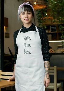 Wife Mom Boss Kitchen With Apron Pocket Mommy Cooking Mothers Day Christmas Gift