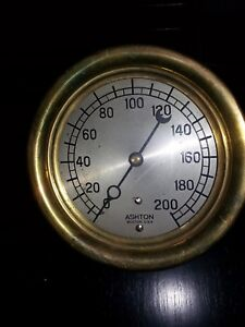 Vintage Ashton Valve Co Steam Gauge Brass