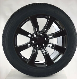 Chevy Silverado 1500 Tahoe 22 Gloss Black 8 Spoke Wheels Rims Goodyear Tires