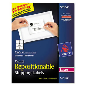 Avery Repositionable Shipping Labels Inkjet laser 3 1 3 X 4 White 600 box