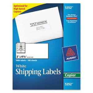 Avery Copier Shipping Labels 2 X 4 1 4 White 1000 box