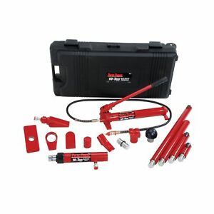 Porto Power B65115 Black Red Hydraulic Body Repair 19 Piece Kit 10 Ton Capacity
