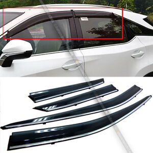 Fit 16 18 Lexus Rx350 Rx450h Jdm Style Black Tinted W Chrome Trim Window Visor