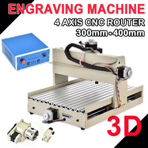 4 Axis Cnc3040 Router 400w Engraver Wood Engraving Machine Mach3 Parallel