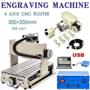 Usb 4 Axis Cnc Router 3020 Engraver 3d Wood Milling Drilling Engraving Machine