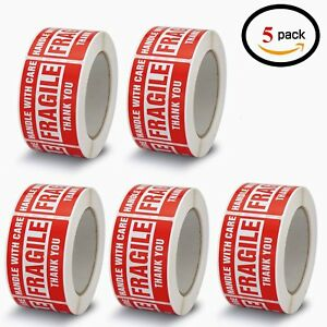 5 Rolls 3x5 Fragile Stickers Handle With Care Shipping Labels Self Adhesive Red