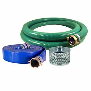 Jgb Enterprises Eagle Hose Pvc aluminum Water trash Pump Hose Kit 2 Green Hose