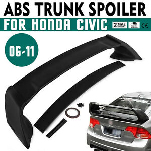 Set For 06 11 Honda Civic 4dr Rear Tail Trunk Wing Spoiler Unpainted Abs Us