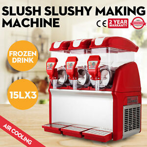 Commercial 3tank Frozen Drink Slush Making Machine Smoothie Maker 110v Hot