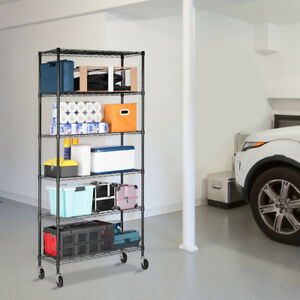 All metal 6tier Durable Shelving Storage Rack Lockable Caster For Kitchen Office