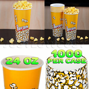 24 Oz Popcorn Buckets Cups Containers Snacks Concession Movie Theater 1000 case