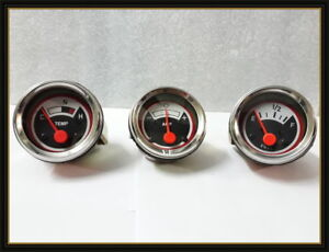 Oliver Tractor Temp Fuel Ampere Gauge Set 1550 1650 1750