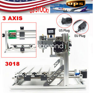 3 Axis Cnc Router Mini Wood Carving Machine 3018 Grbl Control Pcb Printer 110v
