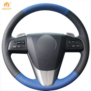 Black Blue Leather Steering Wheel Cover For 2011 2013 Mazda 3 Mazda Cx7 mz29