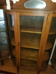 Antique Oak Wood Glass Side Curved China Cabinet Curio Plates Display Key