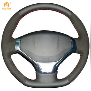 Mewant Black Genuine Leather Suede Steering Wheel Cover For Peugeot 308 Bz37