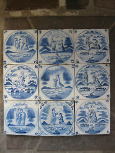 9 Antique Dutch Biblical Tiles Tile Province Of Friesland 18th Free Shipping