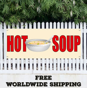 Banner Vinyl Hot Soup Advertising Sign Flag Many Sizes Restaurant Cafe Food Home
