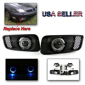 For Usa 99 00 Civic Si Sedan Hb Coupe 3 Projector Fog Lights Blue Led Halo Ring