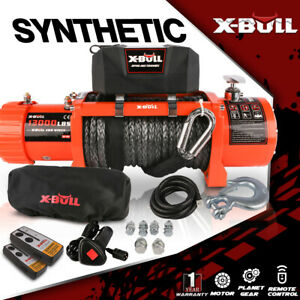 X bull 13000lbs Electric Winch 12v Synthetic Rope 4wd Waterproof Truck Trailer