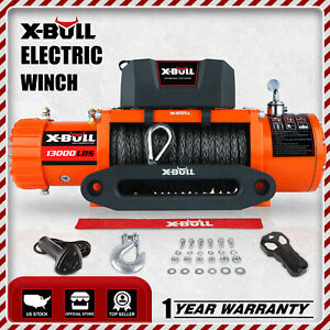 X Bull 13000lbs Electric Winch12v Waterproof Truck Trailer Synthetic Rope 4wd