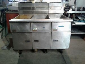 Gas Chicken Fish Deep Fryer Bank 3 X 50lb Pitco Sg18 s With Filter